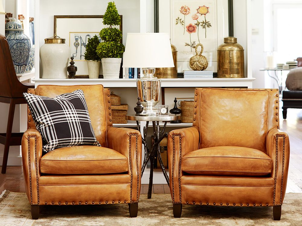 Hancock and Moore leather chairs Leather Living Room Chair, Living Room  With Chairs, Plaid