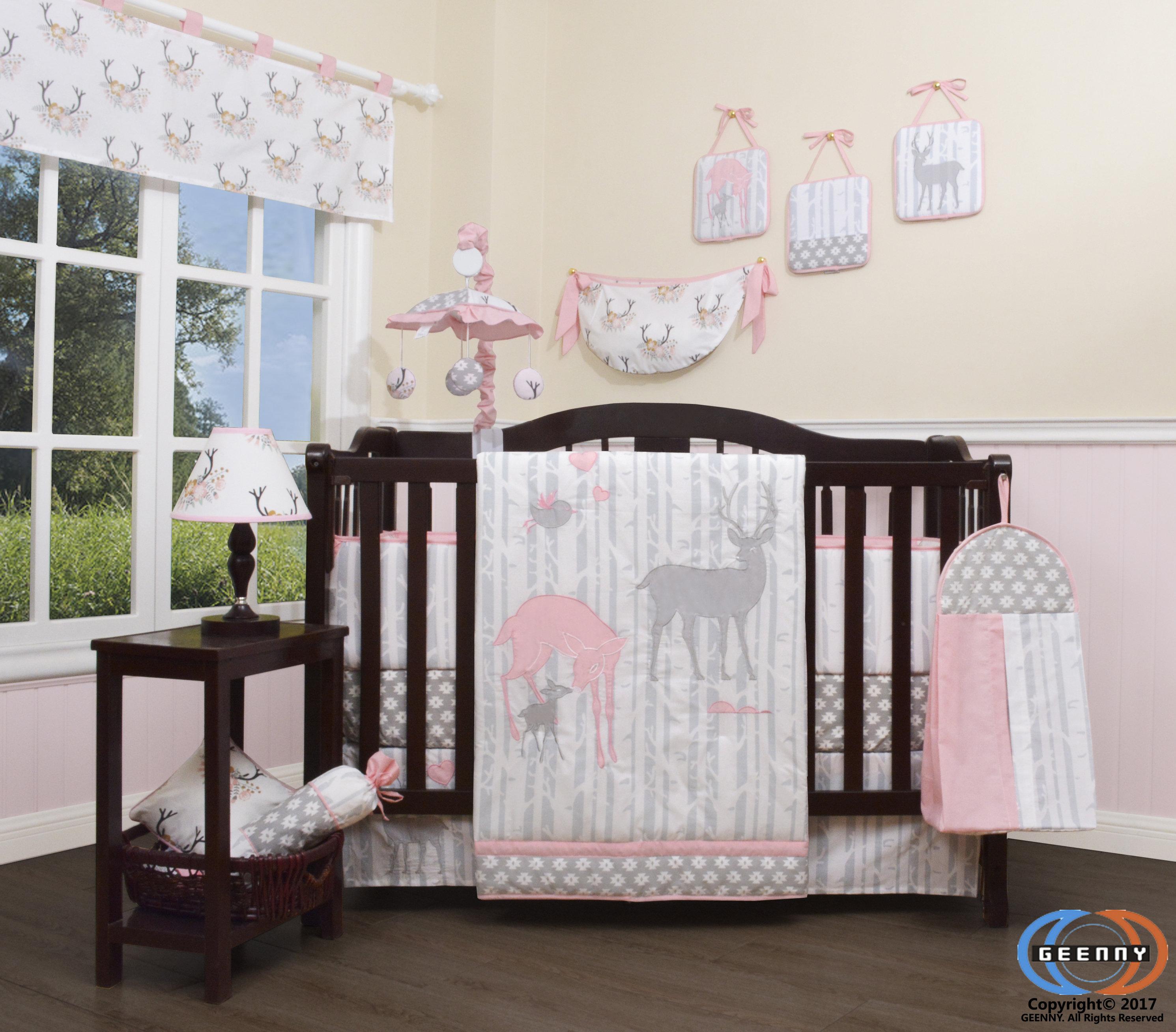 Harriet Bee Three Lakes Baby Girl Deer Family Nursery 13 Piece Crib Bedding  Set & Reviews | Wayfair