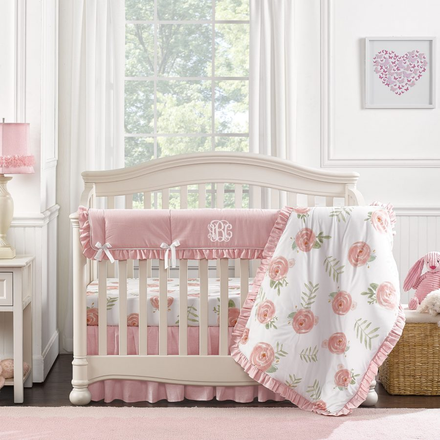 Pink Peony Bumperless Crib Bedding 4 pc Quilt
