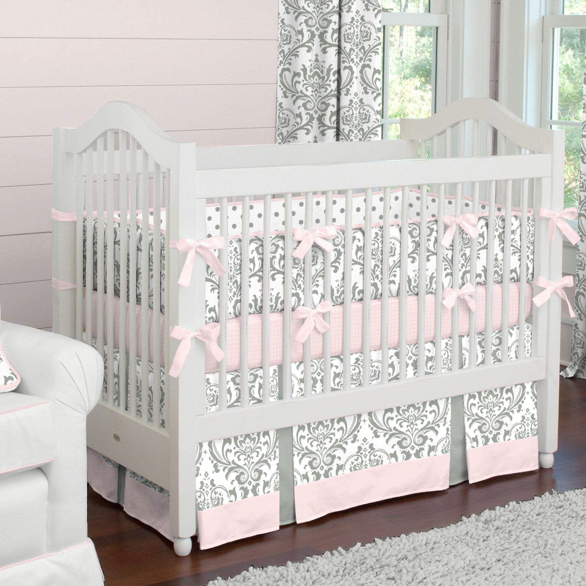 Pink and Gray Traditions Baby Crib Bedding