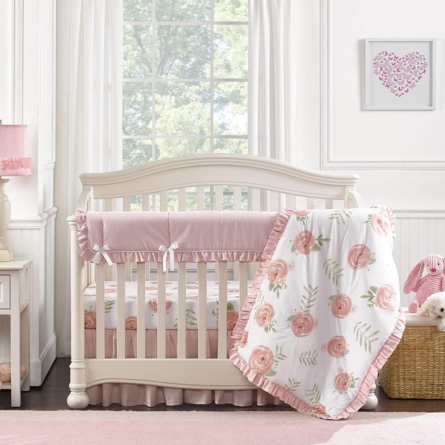Pink Peony Bumperless Crib Bedding 4 pc Quilt