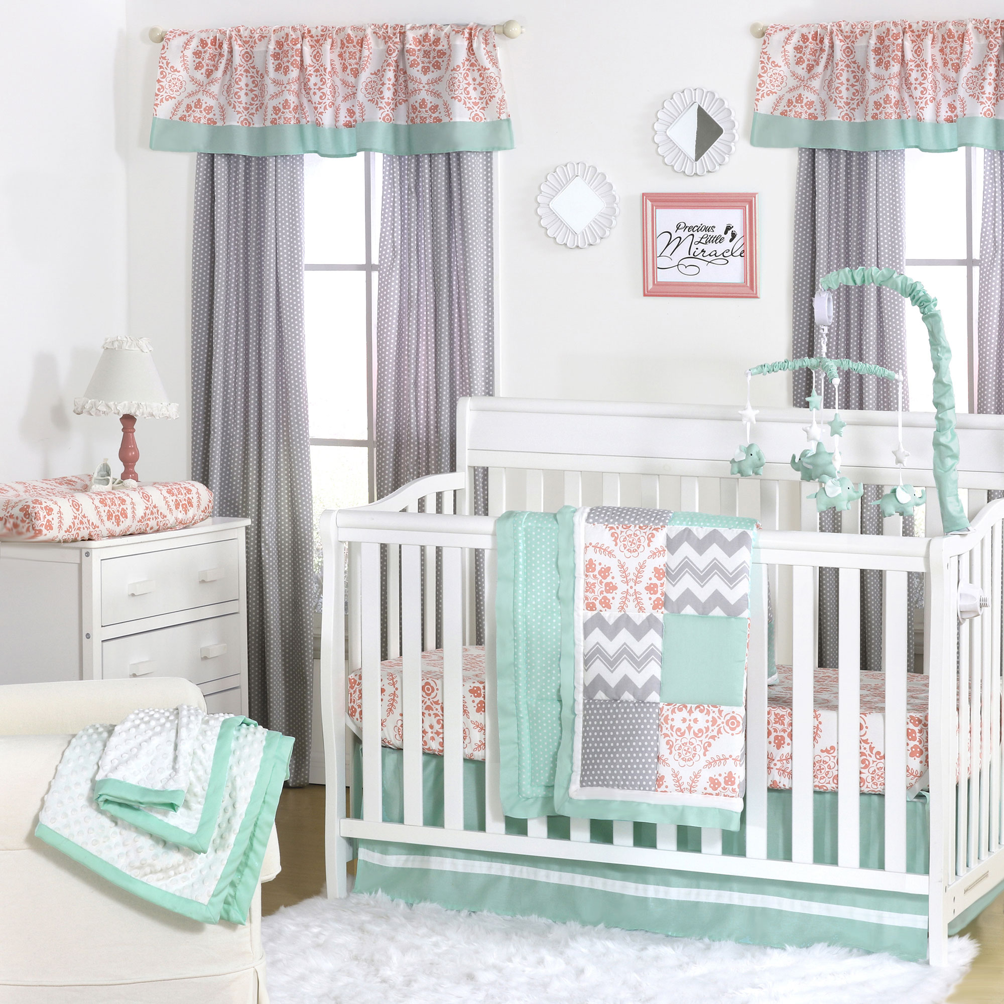 Details about Mint, Coral and Grey Patchwork 3 Piece Baby Crib Bedding Set  by The Peanut Shell