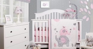 OptimaBaby Pink Grey Elephant 6 Piece Baby Girl Nursery Crib Bedding Set  Image 1 of 1