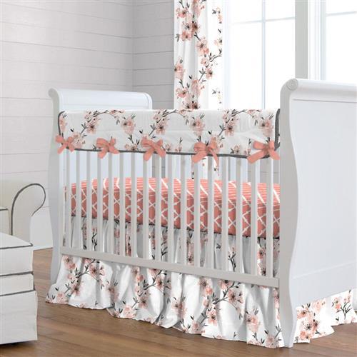 Shabby Chenille Crib Bedding · Light Coral Cherry Blossom Crib Bedding