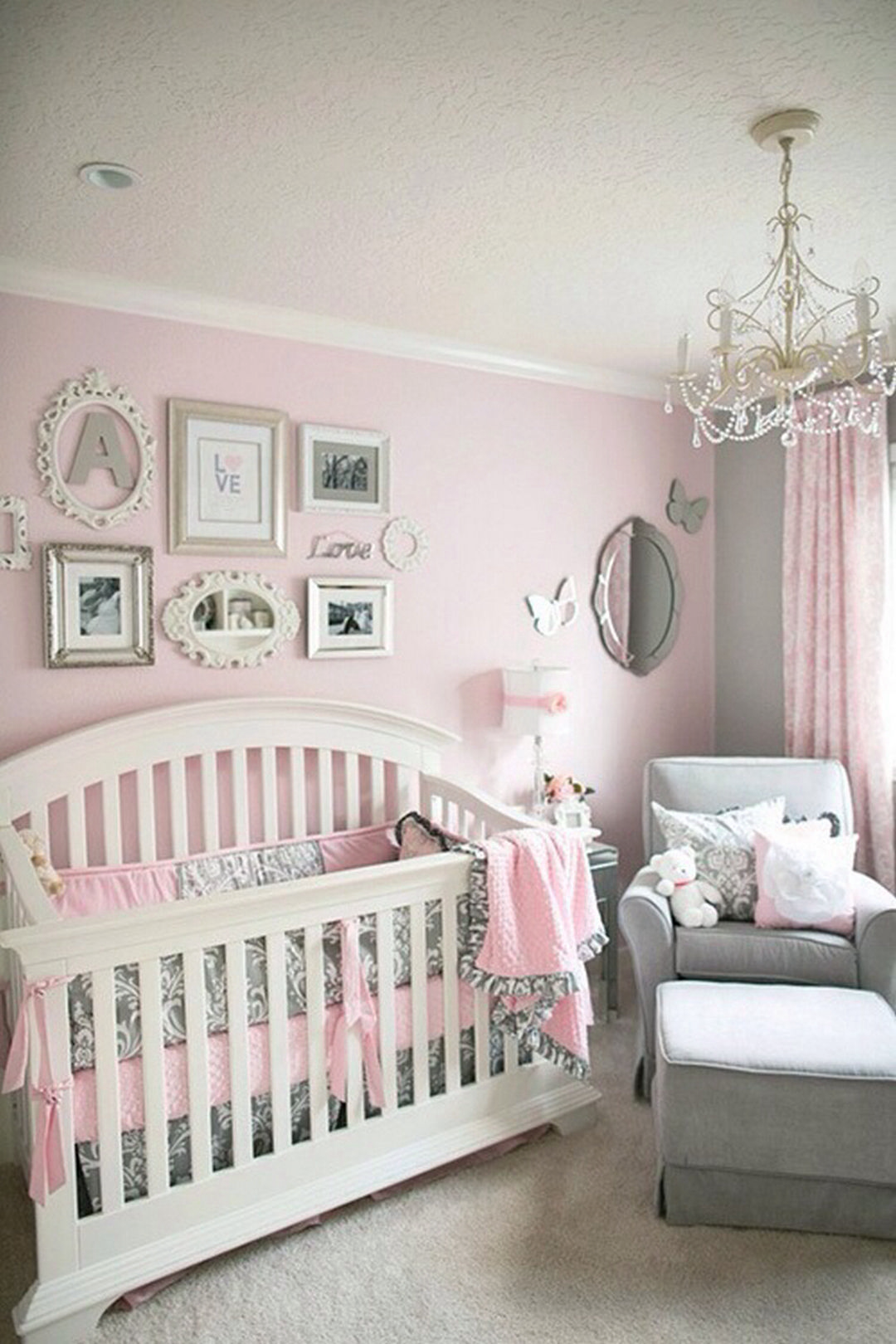 I love this room. Pink And Grey Nursery Baby Girl, Nursery Ideas Girl Grey
