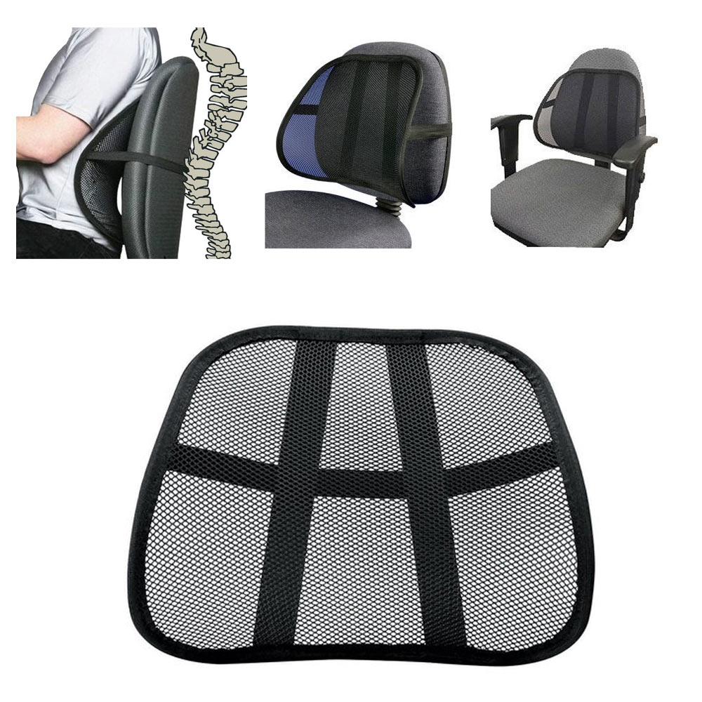 Cool Vent Cushion Mesh Back Lumbar Support New Car Office Chair Truck Seat  Black - Traveller Location