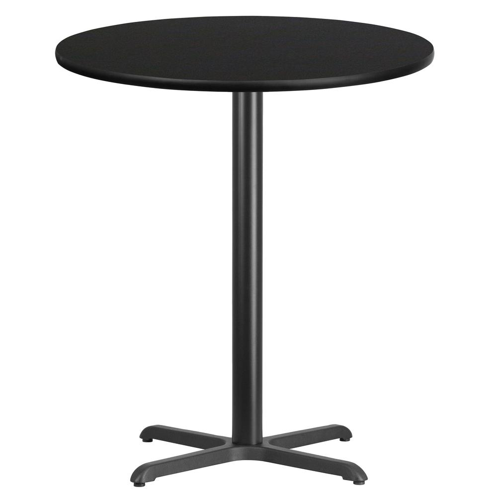 Round Black Laminate Table Top with 30 in. x 30 in. Bar Height Table  Base-XURD36BKT3030B - The Home Depot