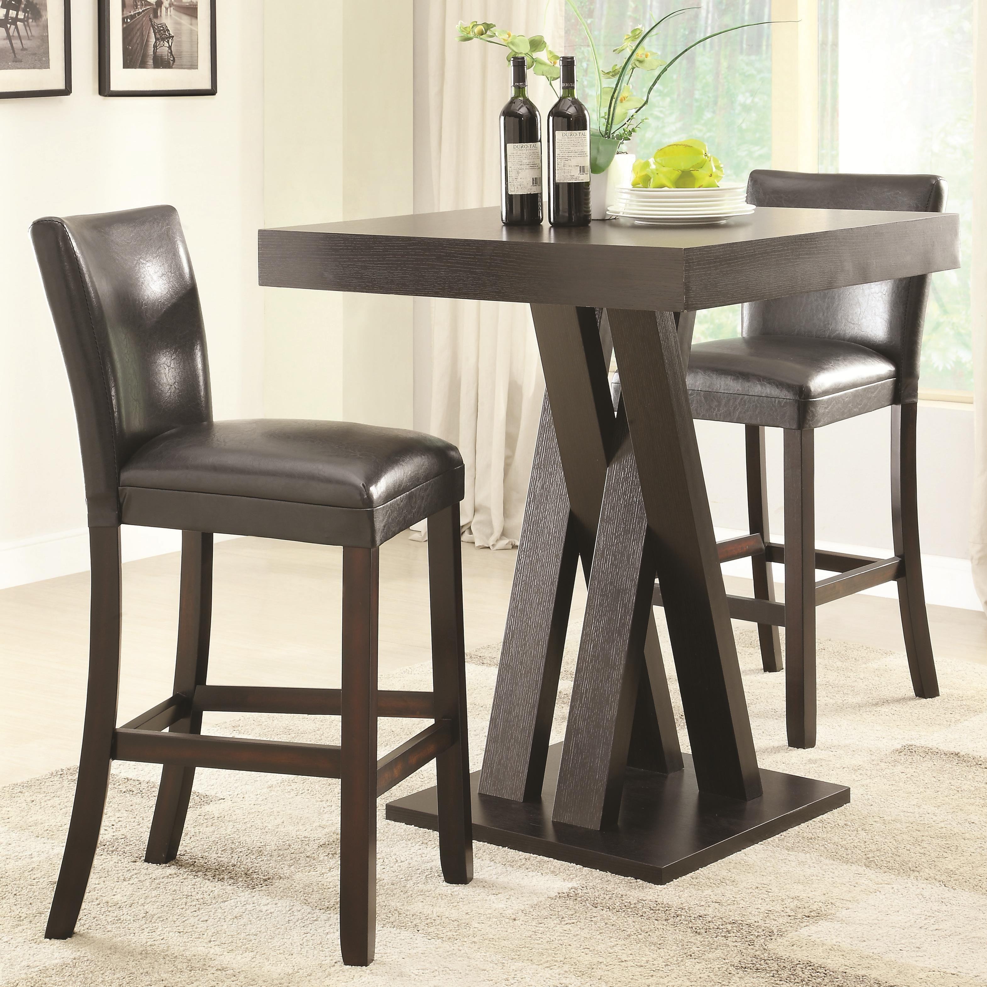 Coaster Bar Units and Bar Tables Three Piece Bar Height Table and Stools  Set | Dunk & Bright Furniture | Pub Table and Stool Sets