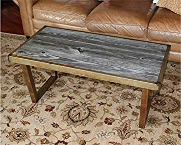 The Barnwood Furniture Co. Authentic Barn Wood & Steel U Leg Coffee Table  (Rusted