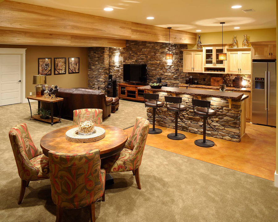 View in gallery stone basement bar design 900x718 These 15 Basement Bar  Ideas Are Perfect For the Man Cave