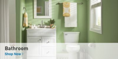 Bathroom with light green walls and a white vanity, mirror and toilet.