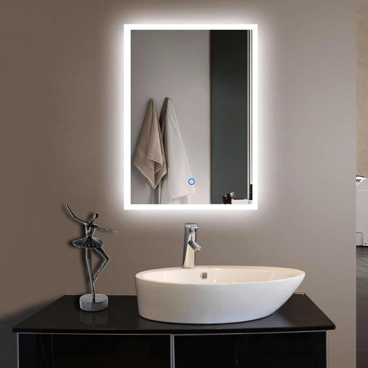 Traveller Location: 20 x 28 in Vertical LED Bathroom Silvered Mirror with Touch  Button (N031-H): Home & Kitchen