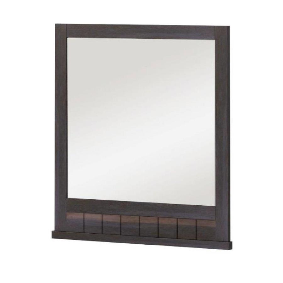 Style Selections Morriston 26-in Brown Rectangular Bathroom Mirror