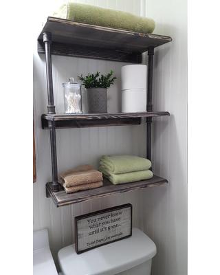 Rustic farmhouse bathroom shelves, Over the toilet shelves, Industrial pipe  shelves, Farmhouse storage