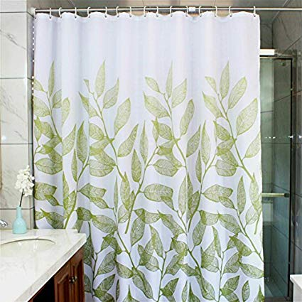 MangGou Leaves Fabric Shower Curtain,Waterproof Polyester Bathroom Curtain,Decorative  Shower Curtain Liner with