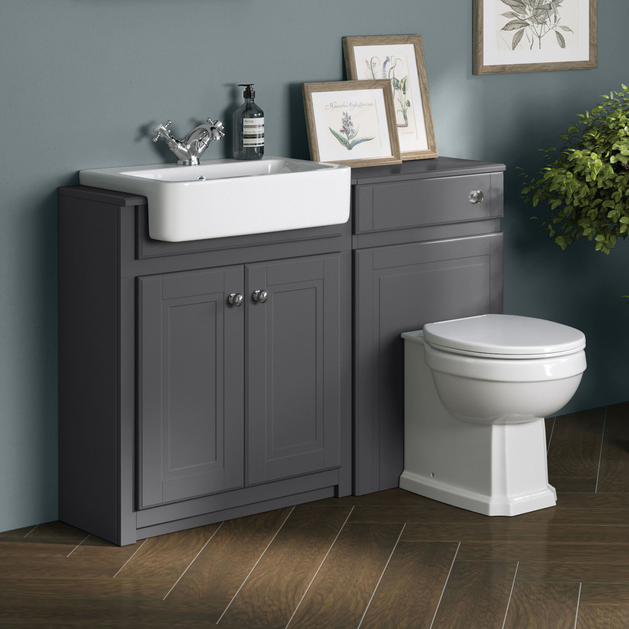 1167mm Cambridge Midnight Grey Combined Vanity Unit - Back to Wall Pan
