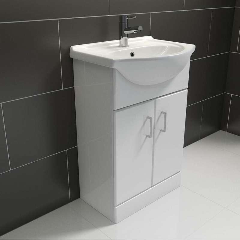 Sienna white vanity unit with basin 550mm