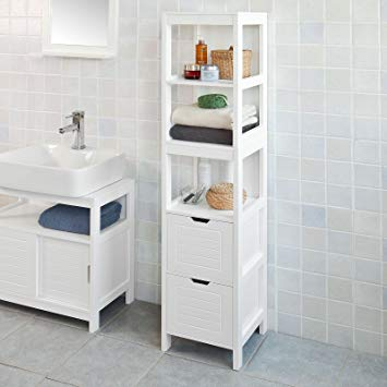Traveller Location: Haotian FRG126-W, White Floor Standing Tall Bathroom Storage  Cabinet with 3 Shelves and 2 Drawers,Linen Tower Bath Cabinet, Cabinet with  Shelf