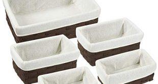 Juvale Nesting Basket - 5-Piece Utility Storage Baskets, Chocolate Brown  Wicker Decorative Organizing