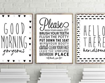 bathroom wall art, goodmorning gorgeous print, hello handsome print,  bathroom rules wall decor, set of 3 bathroom posters, minimal art