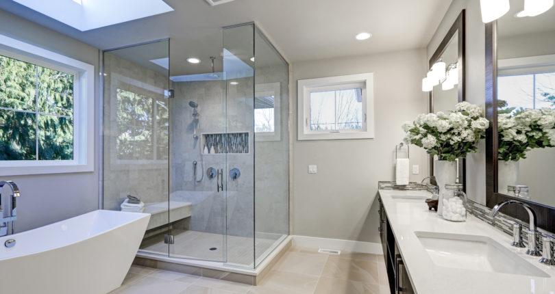 Bigstock Spacious Bathroom In Gray Tone X Contemporary Art Sites Beautiful  Bathroom Design