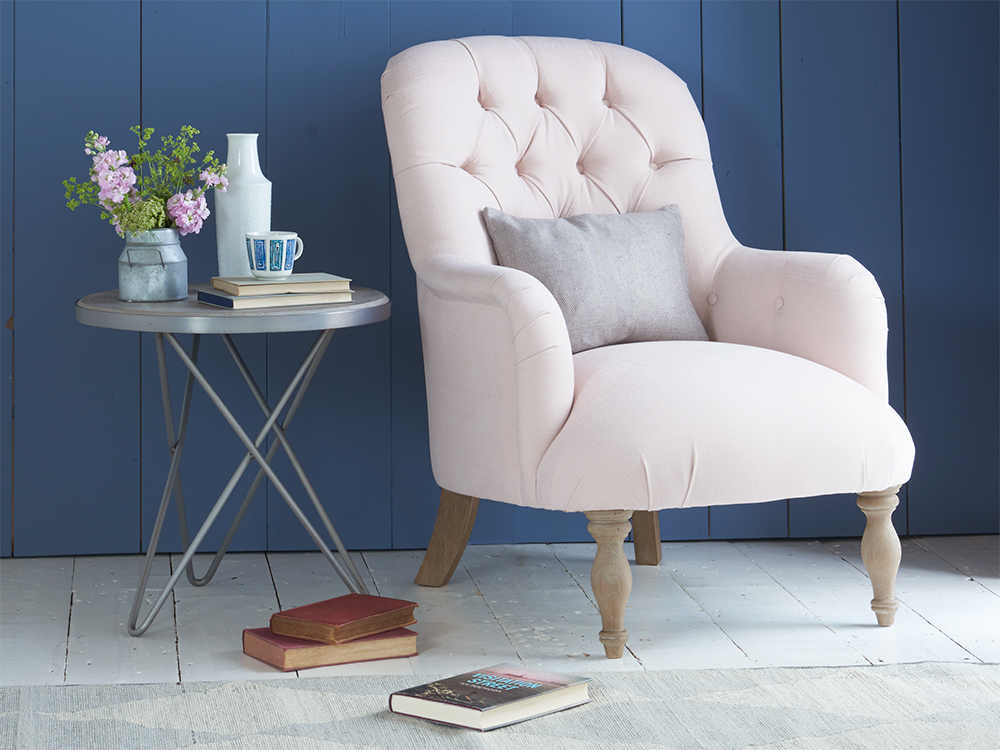 Flump armchair in our Faded Pink brushed cotton