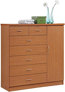 Hodedah 7 Drawer Jumbo Chest, Five Large Drawers, Two Smaller Drawers with  Two Lock