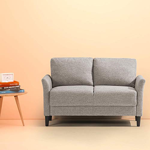 Zinus Classic Upholstered Loveseat, Soft Grey