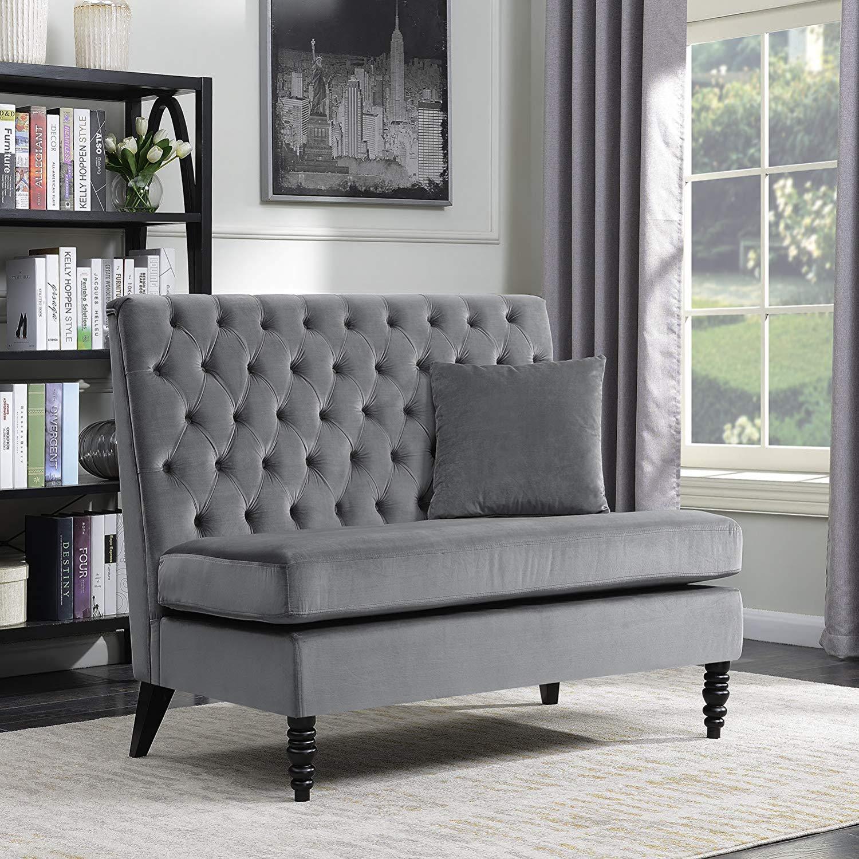 Traveller Location: Belleze Modern Button Tufted Settee Bedroom Bench Loveseat Sofa  Living Room Velvet, Gray: Kitchen & Dining
