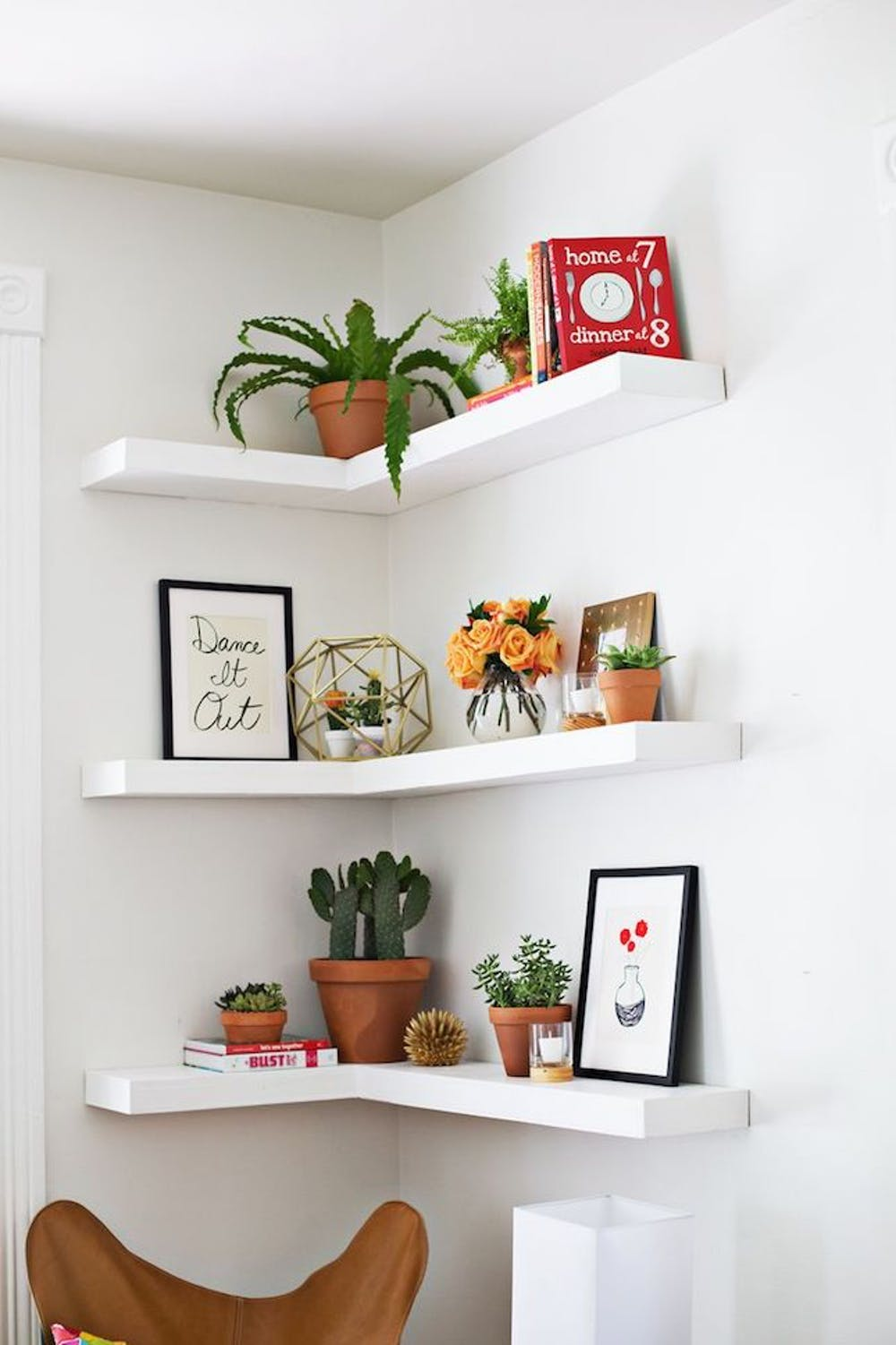Image of: Corner Bedroom Shelves