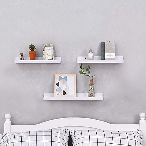 TANBURO Set of 3 Floating Shelves White Mounted Wooden Wall Display Shelf  Decorative Storage Rack in