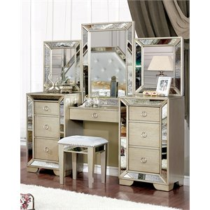 Furniture of America Trista 2 Piece Bedroom Vanity Set in Champagne