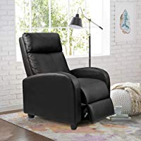 Homall Single Recliner Chair Padded Seat Black PU Leather Living Room Sofa  Recliner Modern Recliner Seat