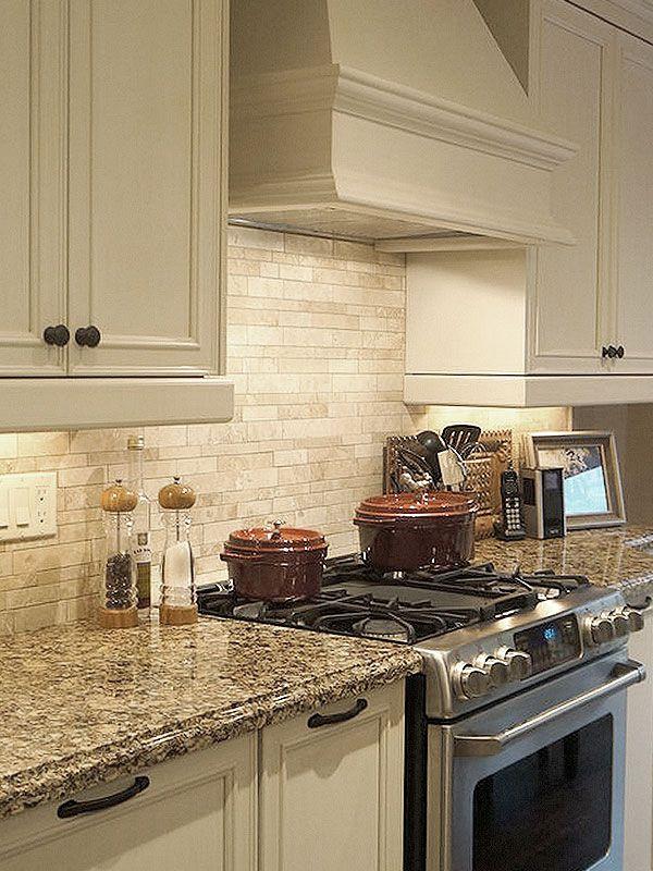 Travertine kitchen backsplash tile