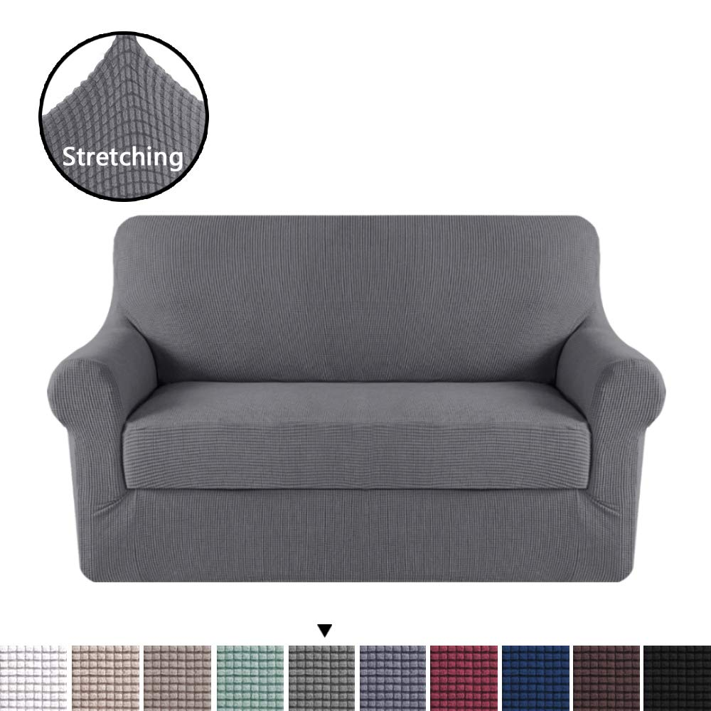 H.VERSAILTEX High Stretch 2 Piece Furniture Protector Sofa Cover Loveseat,  Durable Spandex Stretch Fabric Super Soft Slipcover - Charcoal Gray,