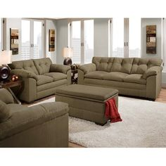 Velocity Sage Green Fabric Sofa and Loveseat Set - The Simmons Velocity  Sage Microfiber Sofa and