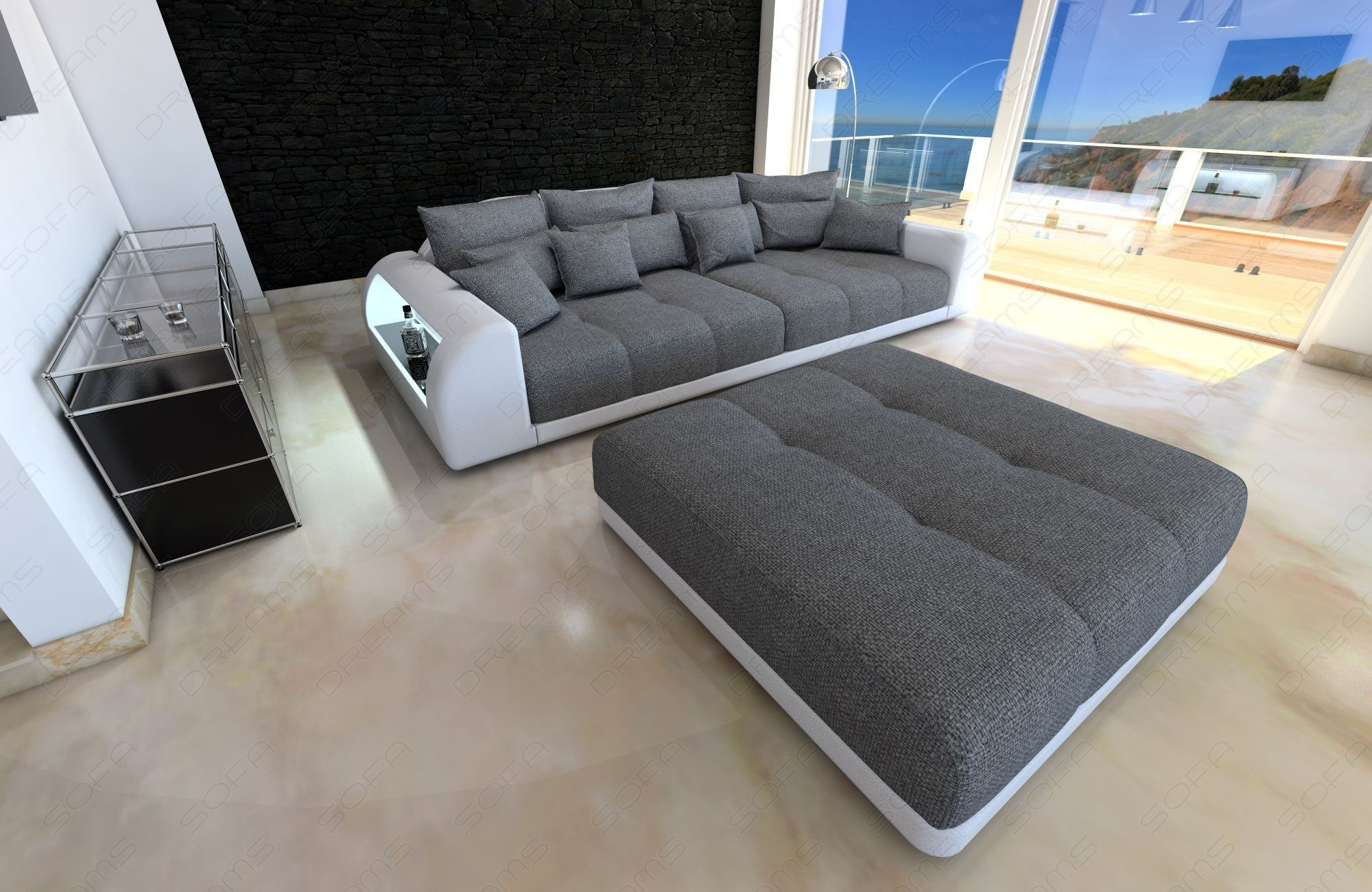 XXL Fabric Sofa Miami with LED Lights grey - Hugo 5