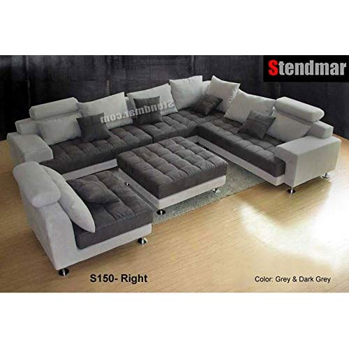 5PC NEW MODERN GRAY MICROFIBER BIG SECTIONAL SOFA SET S150RG
