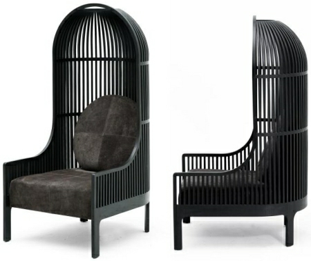 In the case of this sumptuous armchair, the inspiration came from a simple  bird cage.