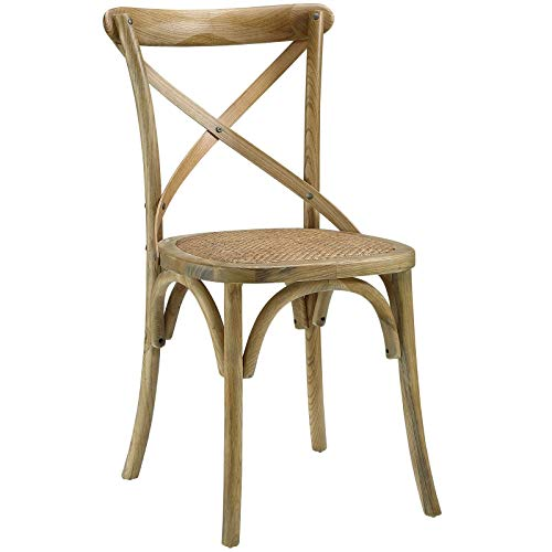Modway Gear Modern Farmhouse Cross Back Solid Elm Wood Dining Side Chair  With Rattan Seat In