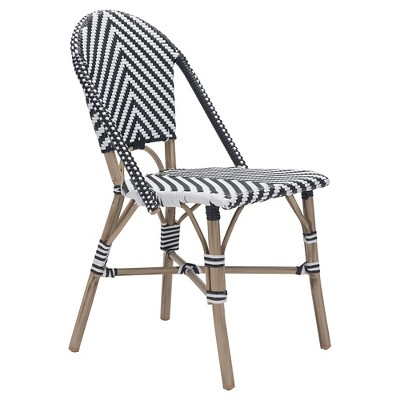 Stackable 2pk Weather Resistant Bistro Chair - Black/White - ZM Home