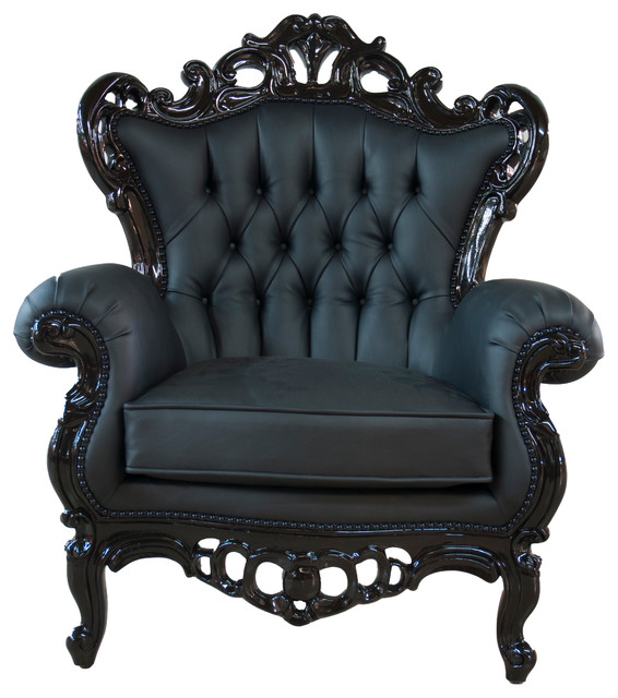 Full Polyurethane King Armchair, Black