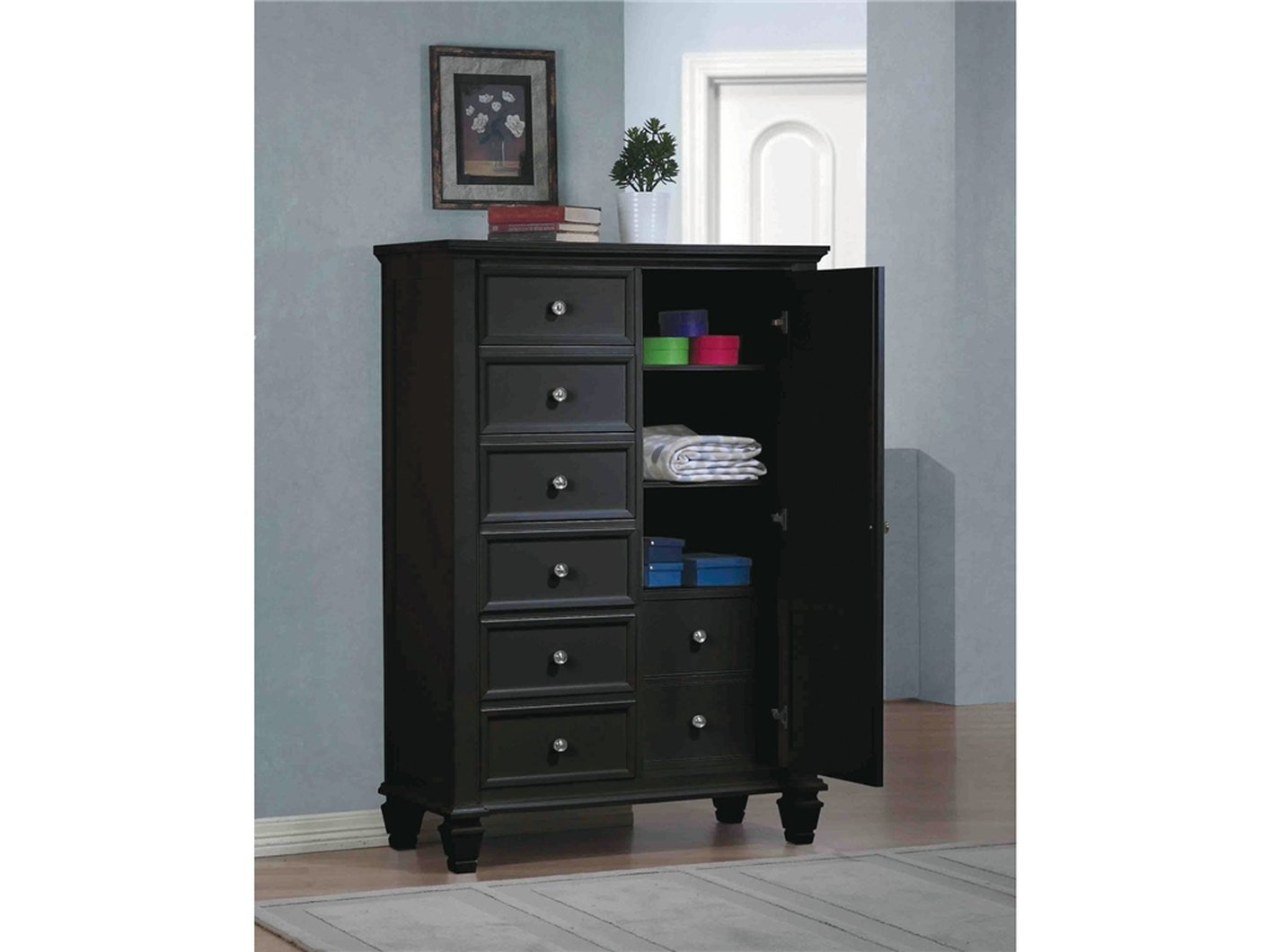 Black Wood Chest of Drawers - Steal-A-Sofa Furniture Outlet Los Angeles CA
