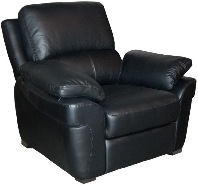 Monzano Leather Fixed Armchair Black