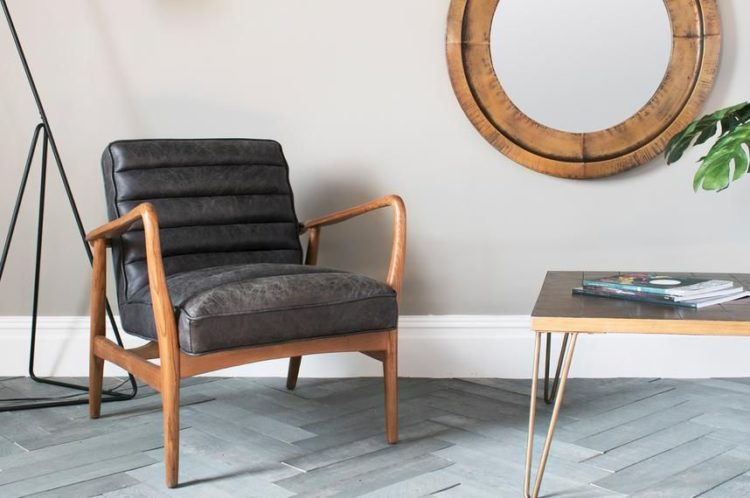 black leather armchair wooden arms from perch and parrow