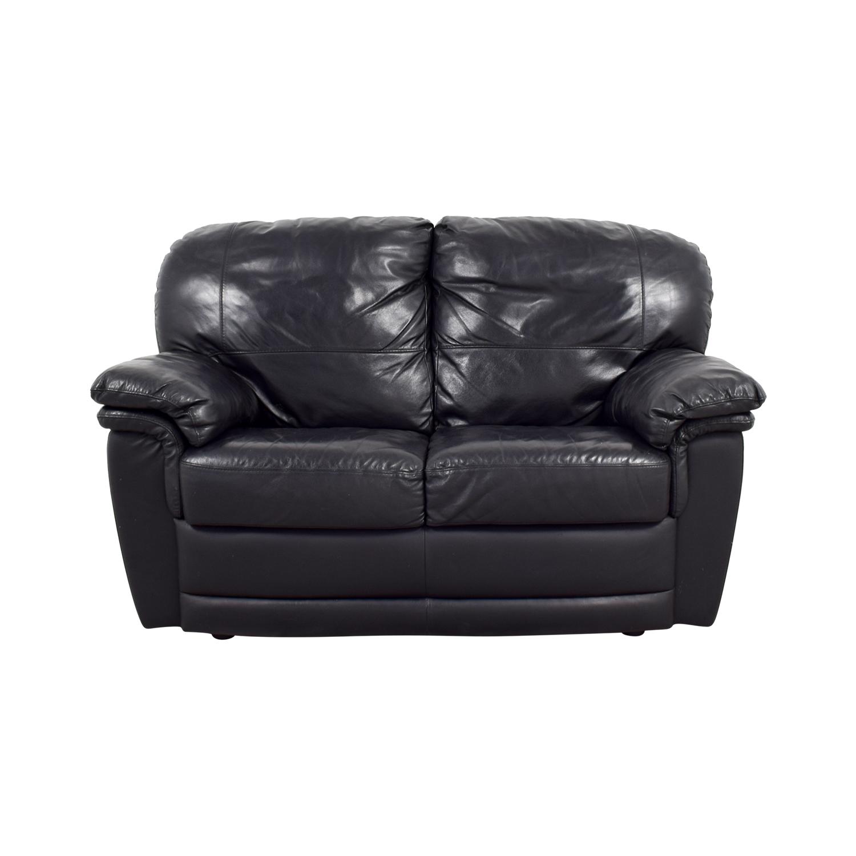 Nicoletti Nicoletti Black Leather Loveseat on sale