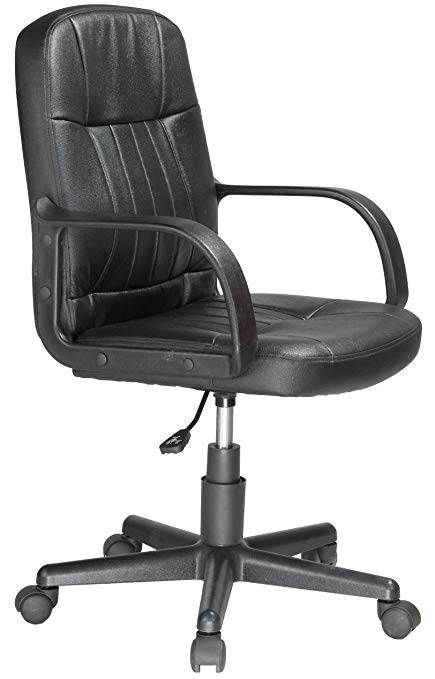 Comfort Products Mid-Back Leather Office Chair, Black