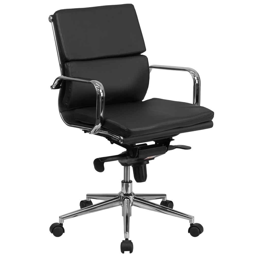 Mid-Back Black Leather Executive Swivel Office Chair with Synchro-Tilt  Mechanism