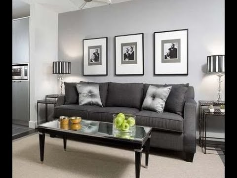 Living room grey walls black furniture interior design ideas