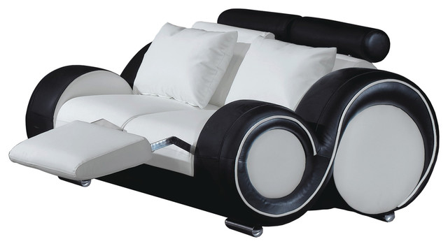 Contemporary Loveseat, White and Black